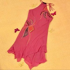 BCBGMaxAzria 100% Silk Pink Embroidered Dress